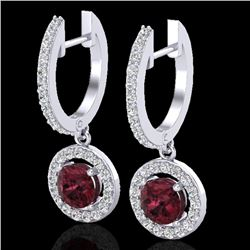 1.75 CTW Garnet & Micro Halo VS/SI Diamond Certified Earrings 18K White Gold - REF-82T8X - 23256