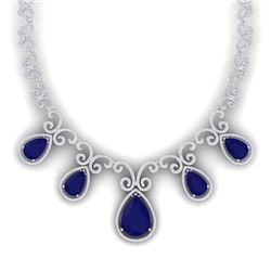 38.42 CTW Royalty Sapphire & VS Diamond Necklace 18K White Gold - REF-1109Y3N - 39531