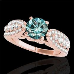1.7 CTW SI Certified Fancy Blue Diamond Solitaire Ring 10K Rose Gold - REF-180M2F - 35265