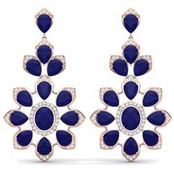 51.8 CTW Royalty Sapphire & VS Diamond Earrings 18K Rose Gold - REF-509M3F - 39052