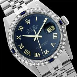 Rolex Men's Stainless Steel, QuickSet, Roman Dial with Diam/Sapphire Bezel - REF-441X8A