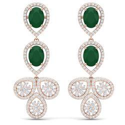 9.75 CTW Royalty Emerald & VS Diamond Earrings 18K Rose Gold - REF-309F3M - 39079