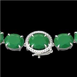 170 CTW Emerald & VS/SI Diamond Halo Micro Solitaire Necklace 14K White Gold - REF-993Y8N - 22294