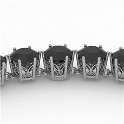 36 CTW Certified Black VS Diamond Necklace 14K White Gold - REF-1033H6W - 29751