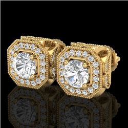 2.75 CTW VS/SI Diamond Solitaire Art Deco Stud Earrings 18K Yellow Gold - REF-472R8K - 37324