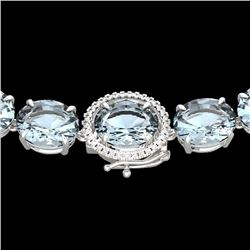 136 CTW Aquamarine & VS/SI Diamond Halo Micro Eternity Necklace 14K White Gold - REF-1363T6X - 22289