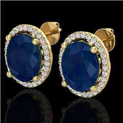 6 CTW Sapphire & Micro Pave VS/SI Diamond Certified Earrings Halo 18K Yellow Gold - REF-89M3F - 2106