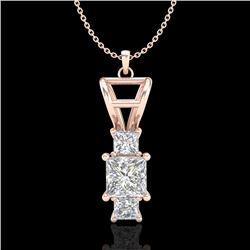 1.54 CTW Princess VS/SI Diamond Solitaire Art Deco Necklace 18K Rose Gold - REF-400T2X - 37203