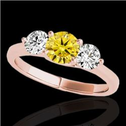 3 CTW Certified Si Fancy Intense Yellow Diamond 3 Stone Solitaire Ring 10K Rose Gold - REF-356K4R -