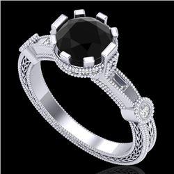 1.71 CTW Fancy Black Diamond Solitaire Engagement Art Deco Ring 18K White Gold - REF-123X6T - 37856