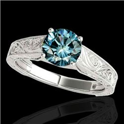 1.5 CTW SI Certified Fancy Blue Diamond Solitaire Antique Ring 10K White Gold - REF-236W4H - 35196