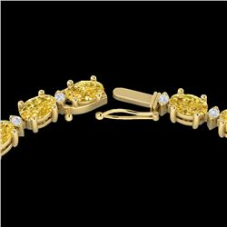28 CTW Citrine & VS/SI Diamond Certified Eternity Tennis Necklace 10K Yellow Gold - REF-146X5T - 215