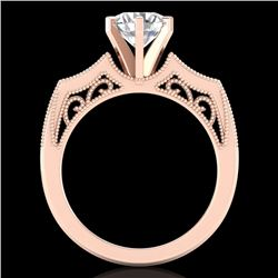 1.51 CTW VS/SI Diamond Solitaire Art Deco Ring 18K Rose Gold - REF-442M5F - 37077