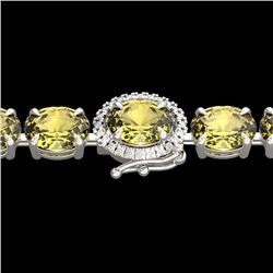 19.25 CTW Citrine & VS/SI Diamond Tennis Micro Pave Halo Bracelet 14K White Gold - REF-109T3X - 4022