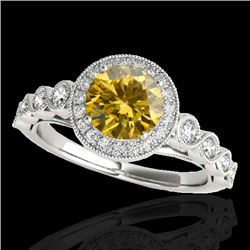 1.5 CTW Certified Si Fancy Intense Yellow Diamond Solitaire Halo Ring 10K White Gold - REF-178R2K -