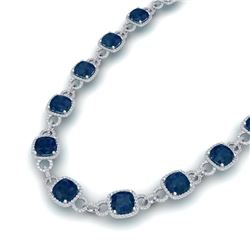 56 CTW Sapphire & VS/SI Diamond Necklace 14K White Gold - REF-960Y2N - 23050