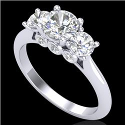 1.5 CTW VS/SI Diamond Solitaire Art Deco 3 Stone Ring 18K White Gold - REF-272R8K - 37313