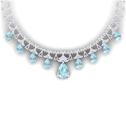 60.62 CTW Royalty Sky Topaz & VS Diamond Necklace 18K White Gold - REF-945X5T - 38709