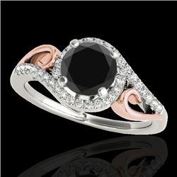 1.25 CTW Certified Vs Black Diamond Solitaire Halo Ring Two Tone 10K White & Rose Gold - REF-56R9K -