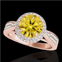 2.15 CTW Certified Si Fancy Intense Yellow Diamond Solitaire Halo Ring 10K Rose Gold - REF-318F2M -