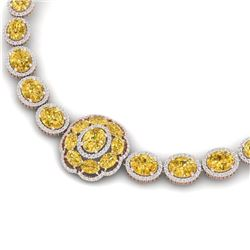 74.56 CTW Royalty Canary Citrine & VS Diamond Necklace 18K Rose Gold - REF-1045K5R - 39235