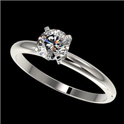 0.75 CTW Certified H-SI/I Quality Diamond Solitaire Engagement Ring 10K White Gold - REF-85T5X - 328
