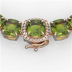 100 CTW Green Tourmaline & VS/SI Diamond Necklace 14K Rose Gold - REF-800K9R - 23350