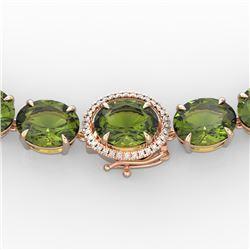 145 CTW Green Tourmaline & VS/SI Diamond Necklace 14K Rose Gold - REF-1166N2Y - 22299