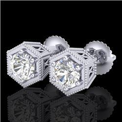 1.15 CTW VS/SI Diamond Solitaire Art Deco Stud Earrings 18K White Gold - REF-174F5M - 37217