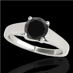 1.5 CTW Certified Vs Black Diamond Solitaire Ring 10K White Gold - REF-59M6F - 35537