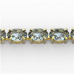 20 CTW Aquamarine Eternity Designer Inspired Tennis Bracelet 14K Yellow Gold - REF-178H2W - 23386