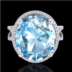 12 CTW Sky Blue Topaz & Micro Pave VS/SI Diamond Halo Ring 18K White Gold - REF-84M2F - 20955