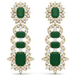 30.25 CTW Royalty Emerald & VS Diamond Earrings 18K Yellow Gold - REF-618F2M - 39407