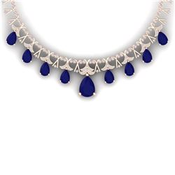 56.94 CTW Royalty Sapphire & VS Diamond Necklace 18K Rose Gold - REF-1072N8Y - 38707