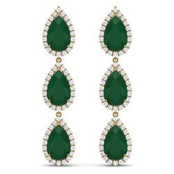 27.06 CTW Royalty Emerald & VS Diamond Earrings 18K Yellow Gold - REF-400F2M - 38843