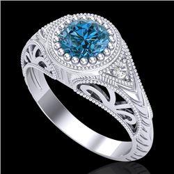 1.07 CTW Fancy Intense Blue Diamond Solitaire Art Deco Ring 18K White Gold - REF-200K2R - 37474