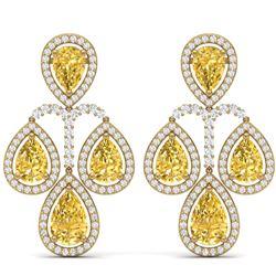 27.85 CTW Royalty Canary Citrine & VS Diamond Earrings 18K Yellow Gold - REF-409K3R - 39374
