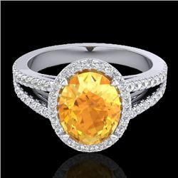 3 CTW Citrine & Micro VS/SI Diamond Halo Solitaire Ring 18K White Gold - REF-67W3H - 20936