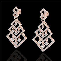 3 CTW Micro Pave VS/SI Diamond Earrings Dangling Designer 14K Rose Gold - REF-235H5W - 22489