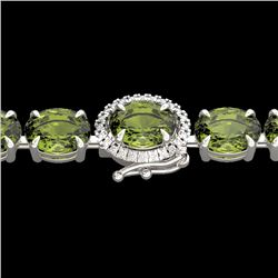17.25 CTW Green Tourmaline & VS/SI Diamond Tennis Micro Halo Bracelet 14K White Gold - REF-172X8T -