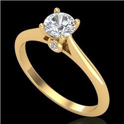 0.56 CTW VS/SI Diamond Solitaire Art Deco Ring 18K Yellow Gold - REF-106N8Y - 37282