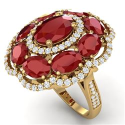 14.4 CTW Royalty Designer Ruby & VS Diamond Ring 18K Yellow Gold - REF-263M6F - 39188