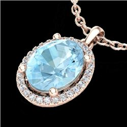 2.50 CTW Aquamarine & Micro VS/SI Diamond Certified Necklace Halo 14K Rose Gold - REF-49F8M - 21069