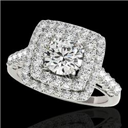 2.05 CTW H-SI/I Certified Diamond Solitaire Halo Ring 10K White Gold - REF-225T5X - 34585