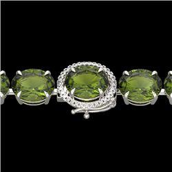 65 CTW Green Tourmaline & Micro VS/SI Diamond Halo Bracelet 14K White Gold - REF-593Y8N - 22263