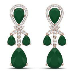 38.29 CTW Royalty Emerald & VS Diamond Earrings 18K Rose Gold - REF-454Y5N - 38605