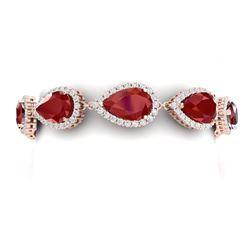 42 CTW Royalty Designer Ruby & VS Diamond Bracelet 18K Rose Gold - REF-600T2X - 38860