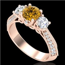 1.81 CTW Intense Fancy Yellow Diamond Art Deco 3 Stone Ring 18K Rose Gold - REF-236F4M - 38030