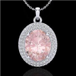 4.50 CTW Morganite & Micro Pave VS/SI Diamond Certified Necklace 18K White Gold - REF-157K6R - 20568
