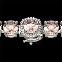 35 CTW Morganite & Micro Pave VS/SI Diamond Halo Bracelet 14K White Gold - REF-494R4K - 23315
